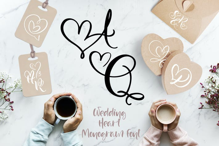 Thumbnail for Wedding Heart Monogram Font