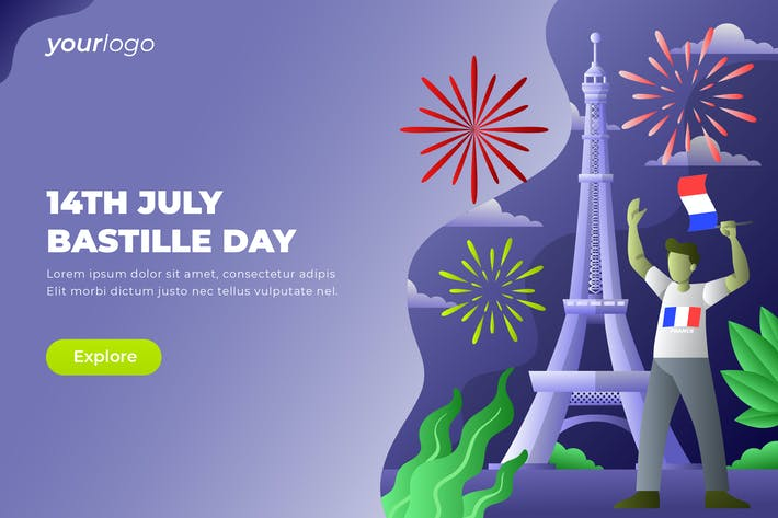 Thumbnail for 14th July Bastille Day - Vector Illustration