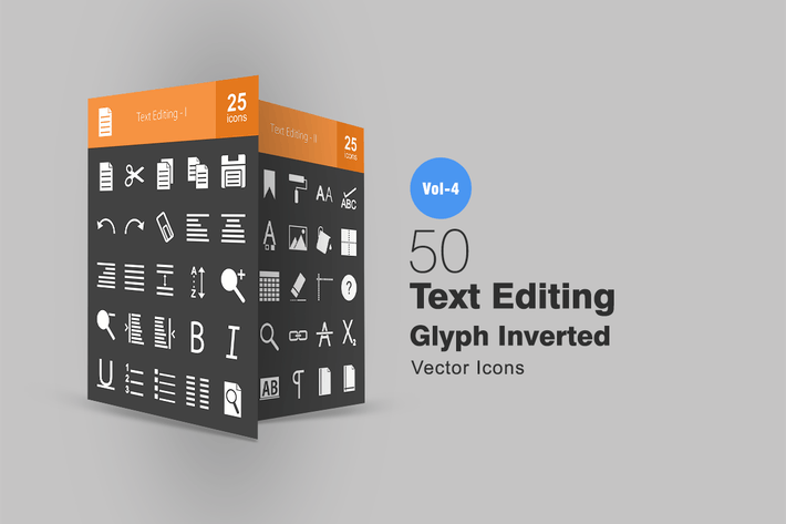 Thumbnail for 50 Text Editing Glyph Inverted Icons