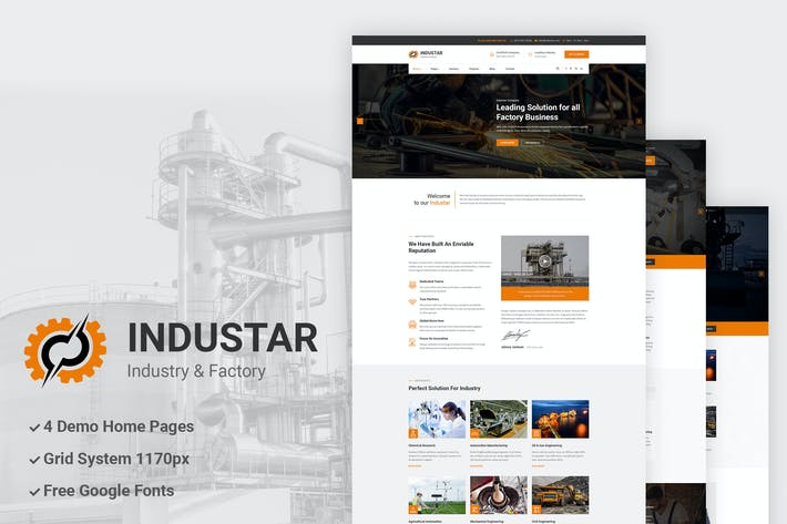Thumbnail for Industar - Industry & Factory PSD Template