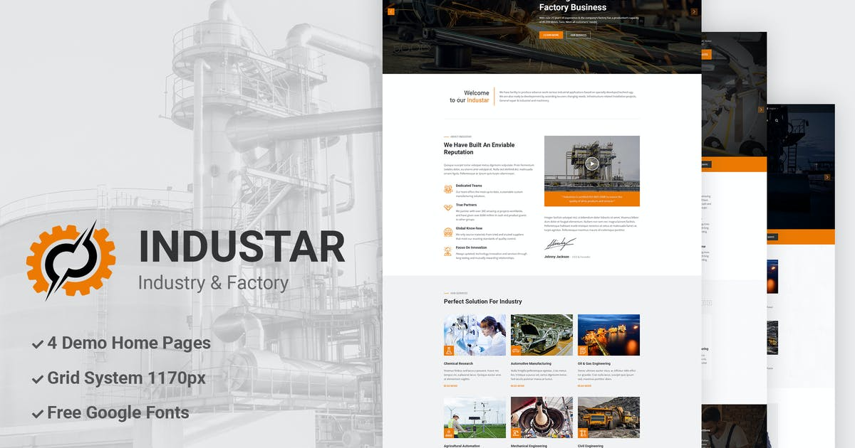 Download Industar - Industry & Factory PSD Template by AuThemes