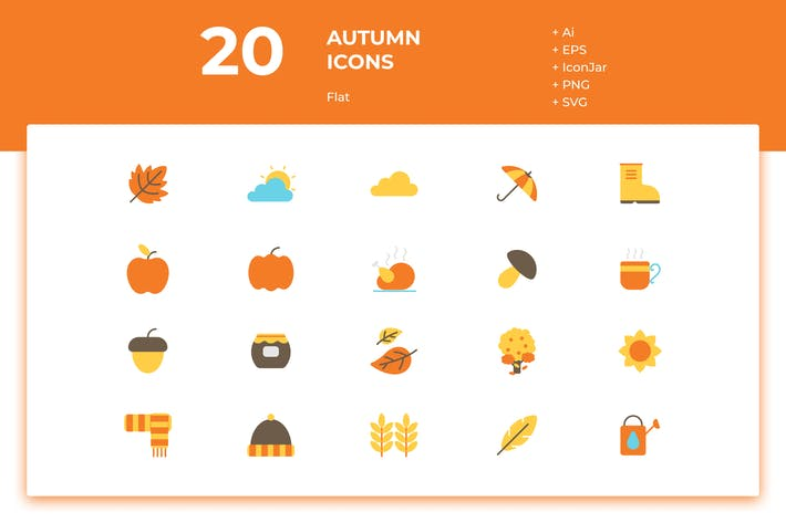 Thumbnail for 20 Autumn Icons (Flat)