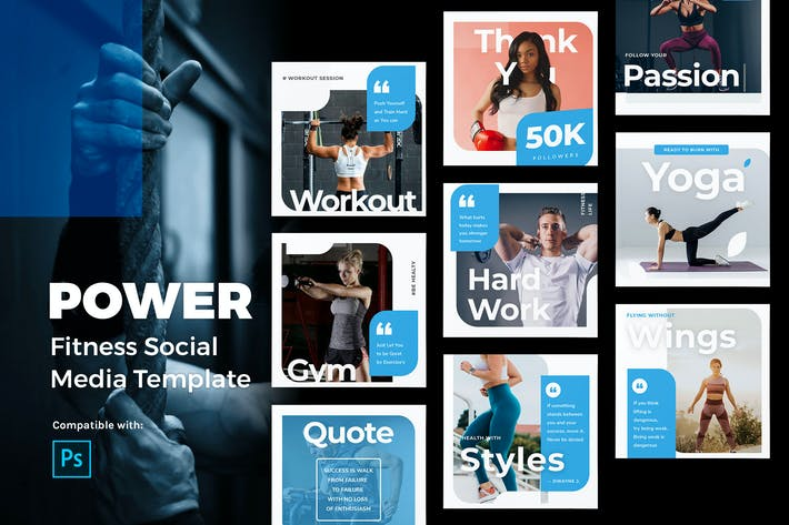 Thumbnail for Power - Fitness Instagram Post Template