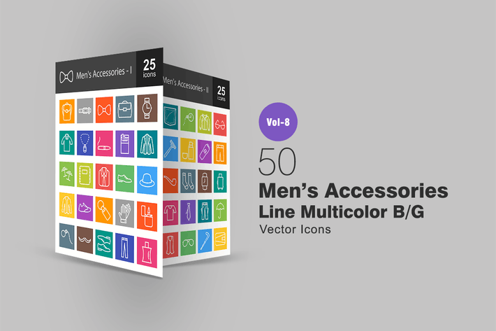 Thumbnail for 50 Men's Accessories Line Multicolor B/G Icons