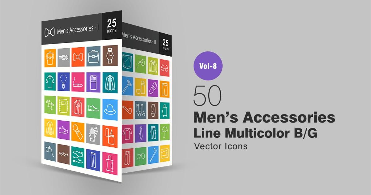 Download 50 Men's Accessories Line Multicolor B/G Icons by IconBunny