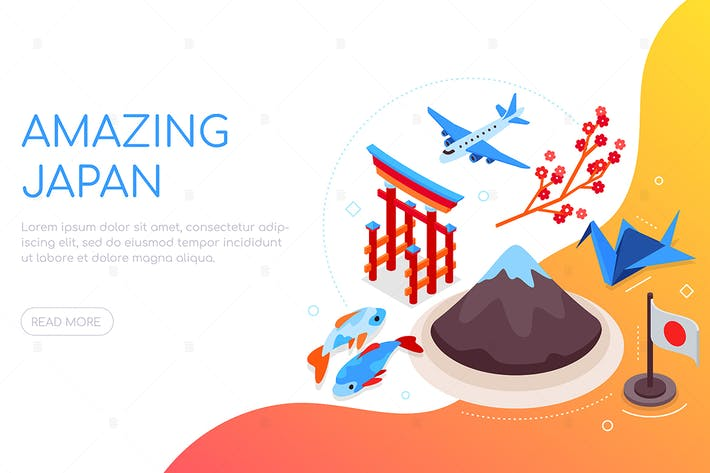 Thumbnail for Amazing Japan - colorful isometric web banner