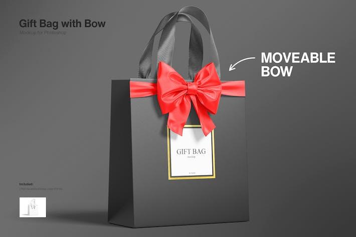Gift Bag with Ribbon and Bow Mockup