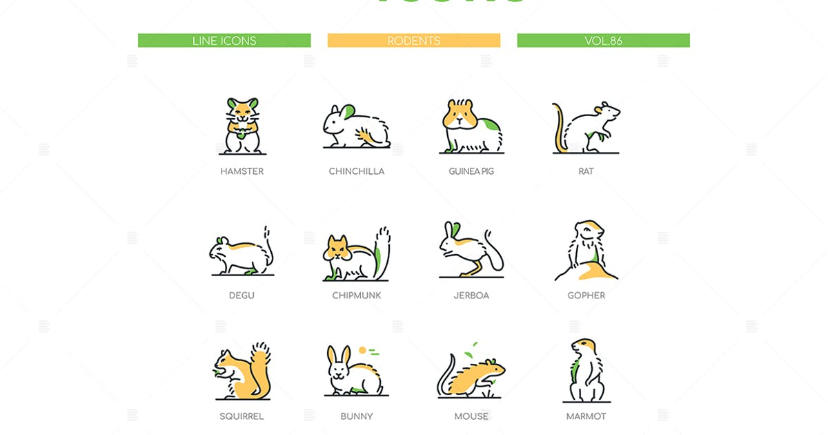 Download Rodents - Modern Line Design Style Icons Set by BoykoPictures