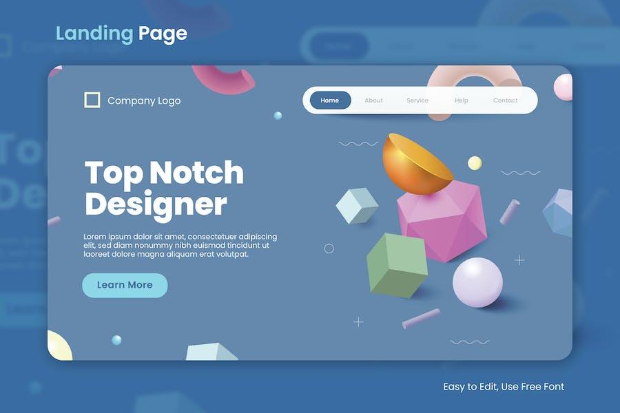 3D Shapes Pastel Landing Page 01