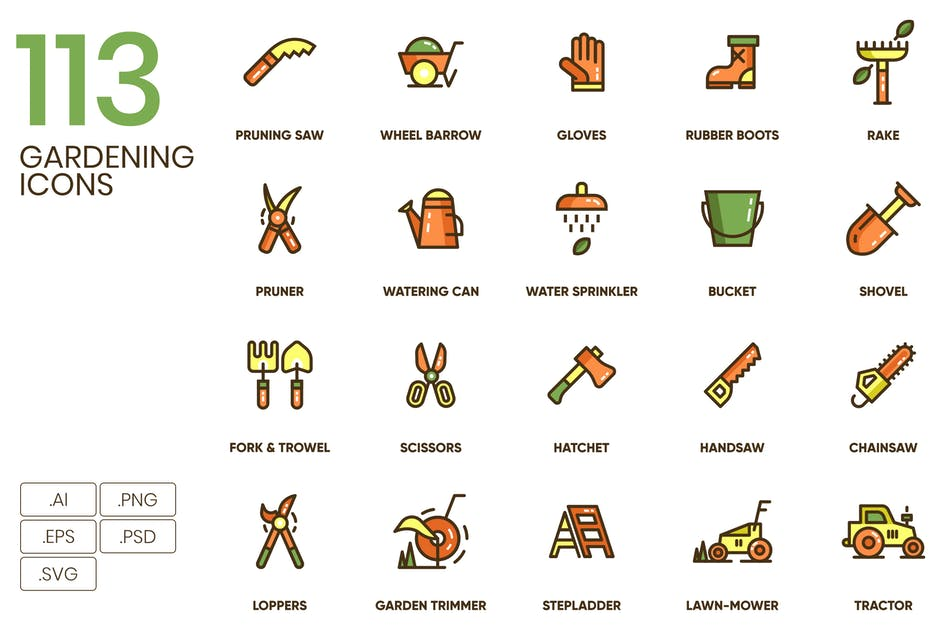 Download 113 Gardening Icons by Krafted