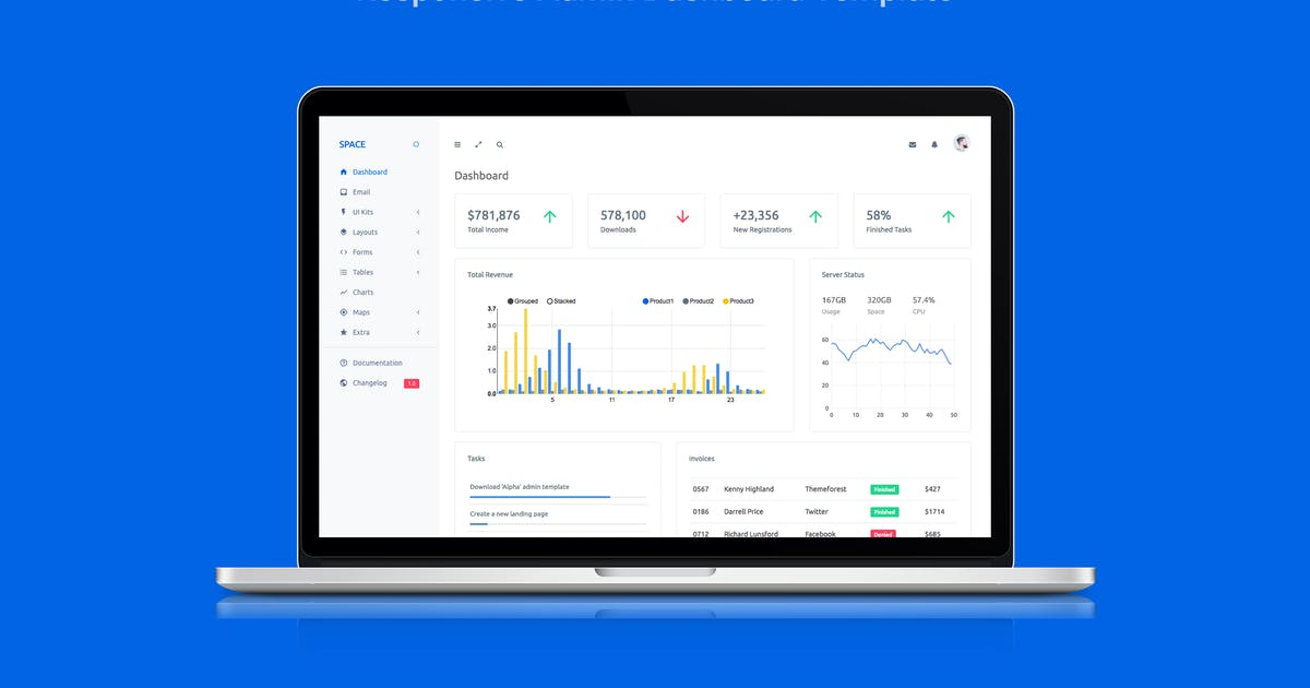 Space - Responsive Admin Dashboard Template by stacks