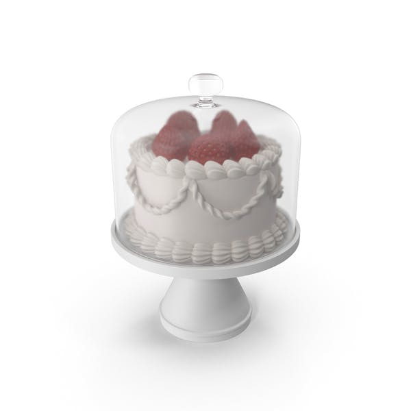 Торт с клубникой и стеклянной куполом