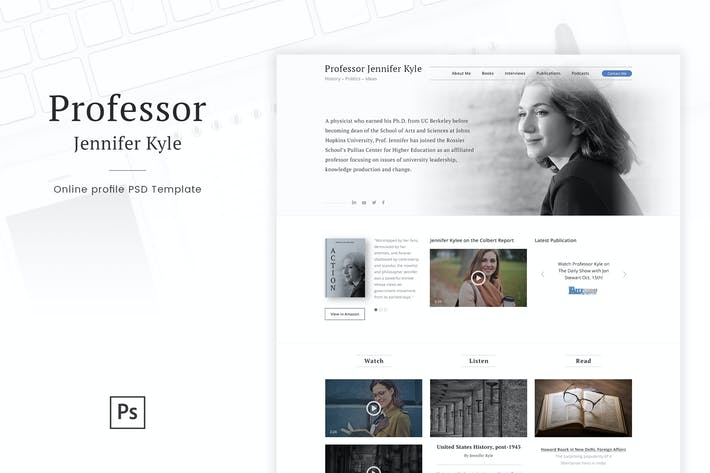Thumbnail for Professor - Online Profile Personal Blog PSD