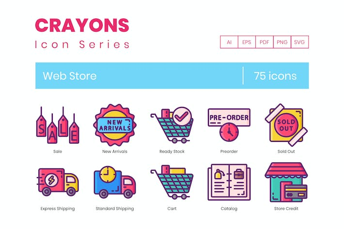 Thumbnail for 75 Web Store Icons | Crayons Series