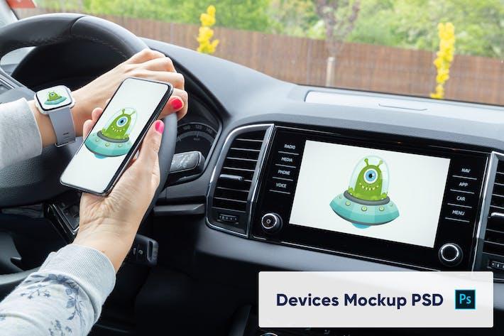 Thumbnail for Phone, Smart Watch and Car Display Mockup - PSD