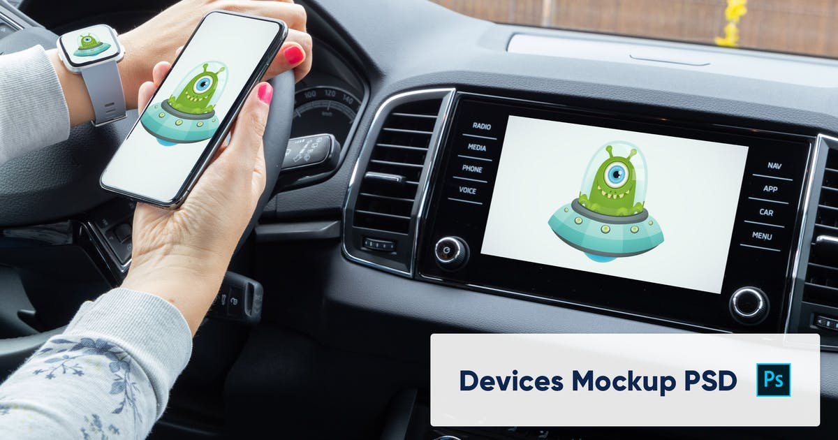 Download Phone, Smart Watch and Car Display Mockup - PSD by maroskadlec