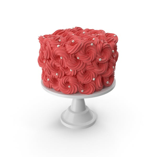 Red Flower Cake with Pearls