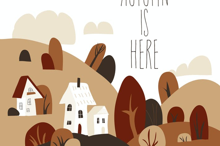Thumbnail for Cartoon autumn landscape with cottages