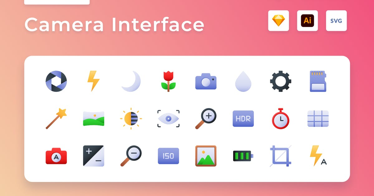 Download Camera Interface Gradient Icon Set by usedesignspace