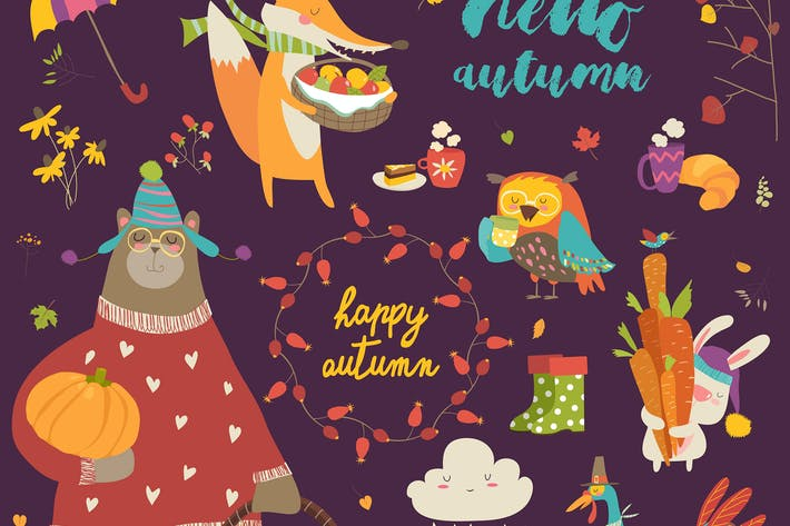Thumbnail for Set of cute autumn cartoon characters, plants and
