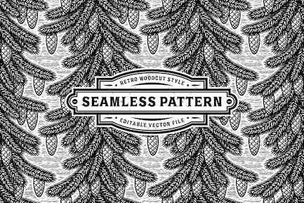 Seamless Spruce Pattern Black And White