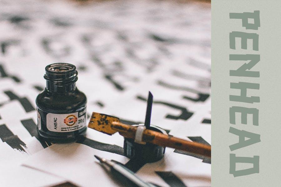 Peanhead Typeface  Pen Stroke Font