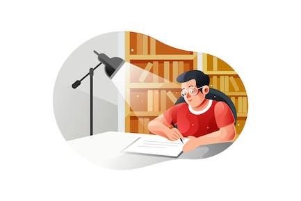Niño estudiando con un libro en la mesa con lámpara