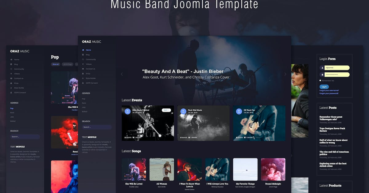 Download Oraz - Music Band Joomla Template by templaza