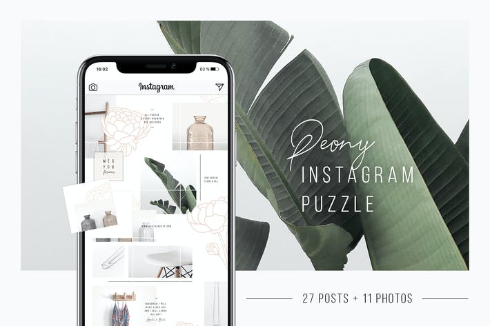 Thumbnail for Peony Instagram Puzzle Template + 11 Photos