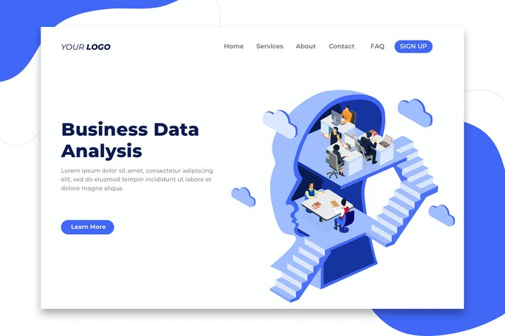 Thumbnail for Business Data Analysis - Isometric Landing Page