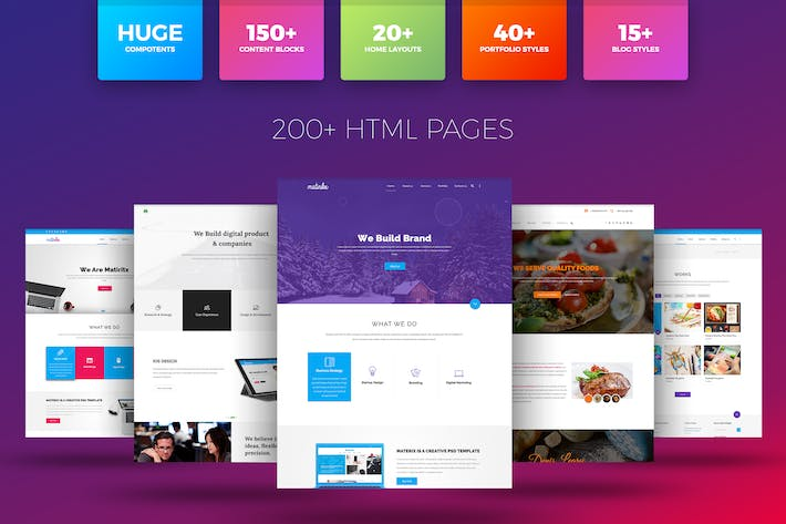 Cover Image For Matrox - Material Design  HTML Template
