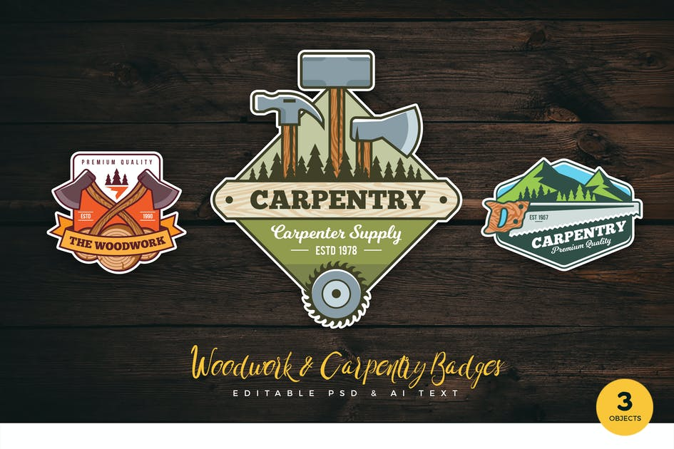 Download Woodwork & Carpentry PSD & AI Logo Badges Vol 1 by RahardiCreative
