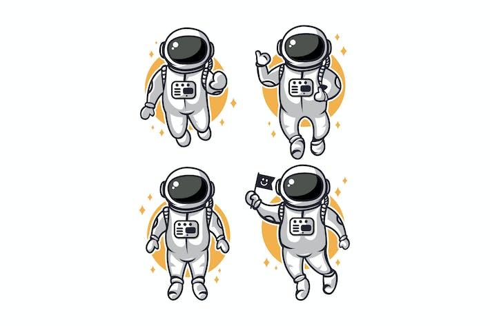 4 Vektor Illustrationen von niedlichen Astronauten