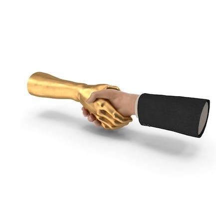 Handshake Menschliche goldene Hand