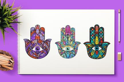 Lumineux Hamsa Hands Cliparts Set