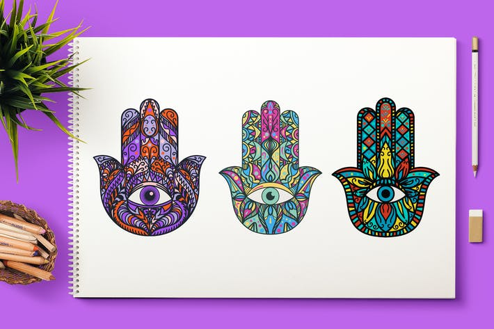 Thumbnail for Bright Hamsa Hands Cliparts Set