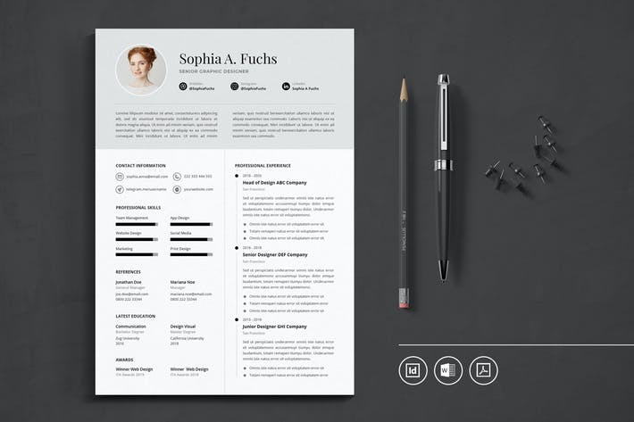 Thumbnail for Professional CV Resume Indesign Template Vol.49