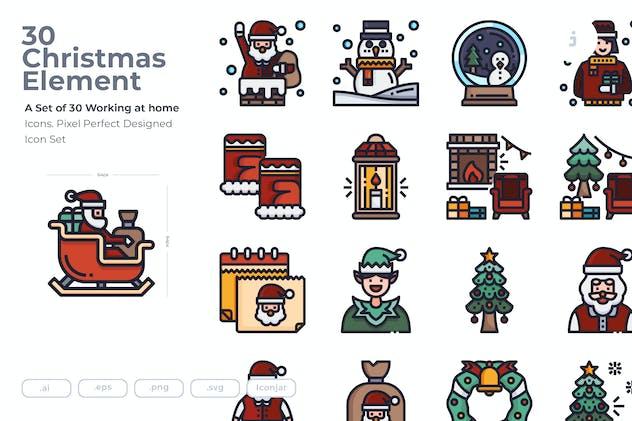 30 Christmas Element Icons