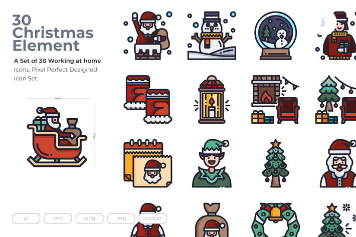Thumbnail for 30 Christmas Element Icons