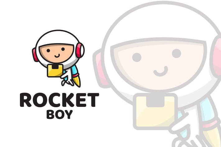 Rocket Boy Cute Logo Template