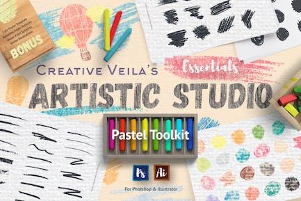 Künstlerisches Studio: Pastell-Toolkit