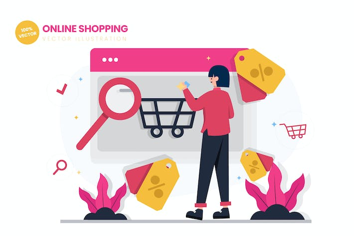 Thumbnail for Online Shopping Flat Vector Illustration