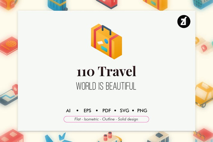 Thumbnail for 110 travel and vacation elements icon pack