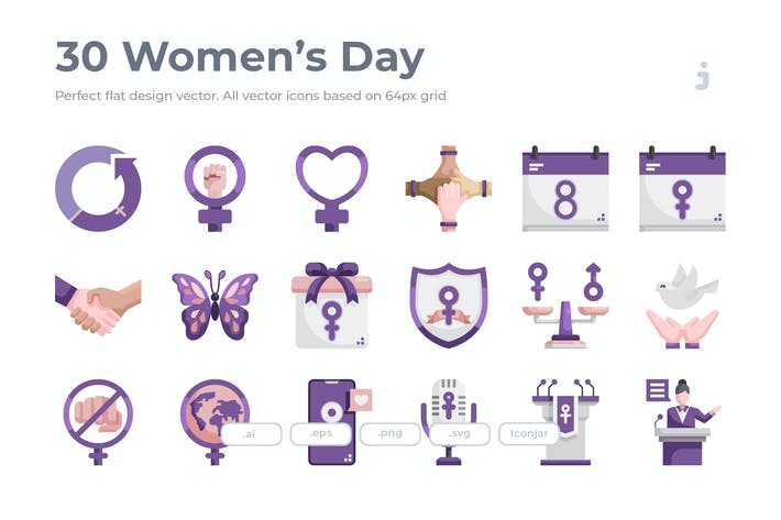 Thumbnail for 30 Women's Day Icons - Flat