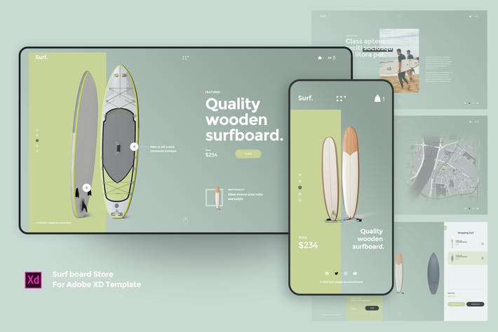 Thumbnail for Surf board Store For Adobe XD Template