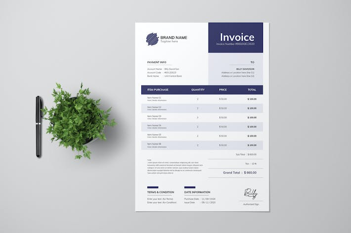 Thumbnail for Clean Invoice With Navy Blue Accent