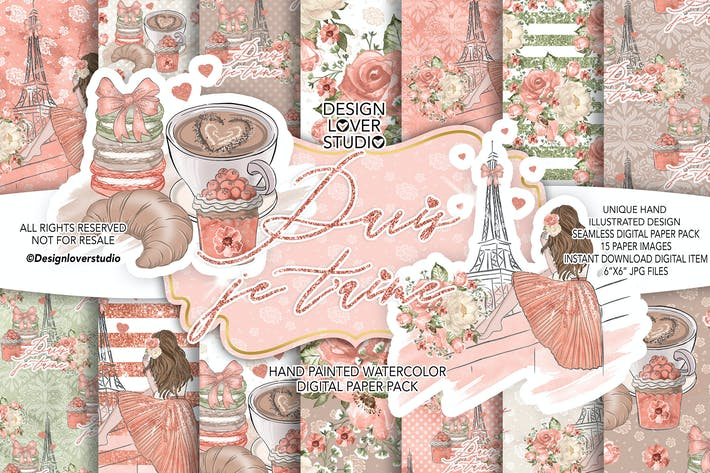 Thumbnail for Paris je t'aime digital paper pack
