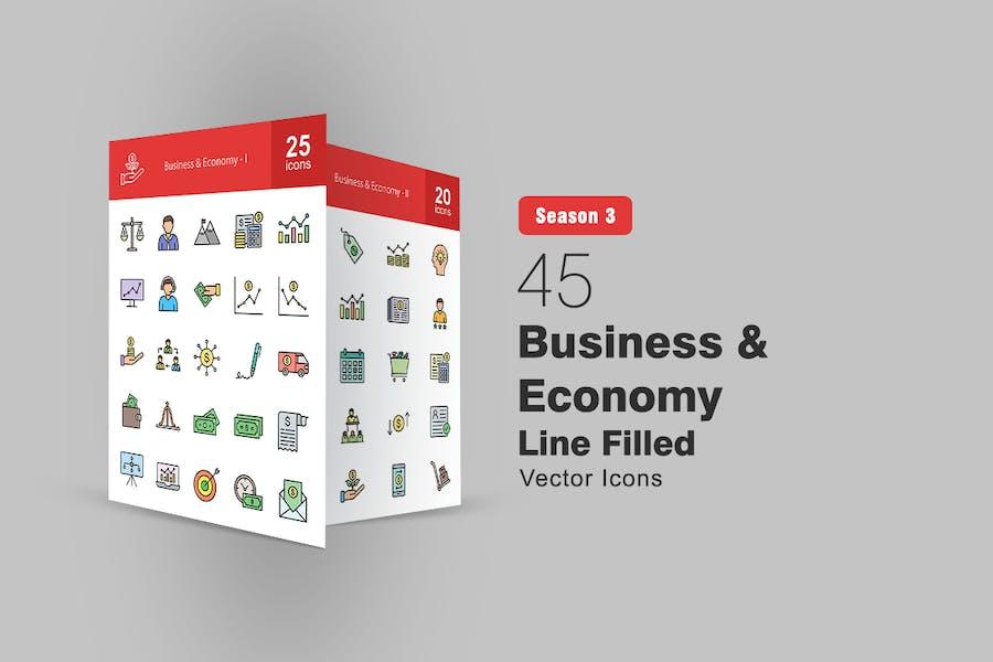 45 Icons für Gefüllte Geschäfts- und Wirtschaftslinien