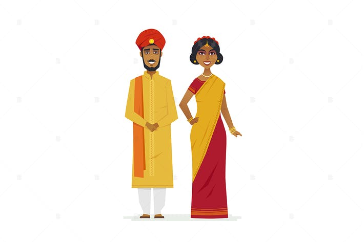 Thumbnail for Happy Indian couple - cartoon people characters