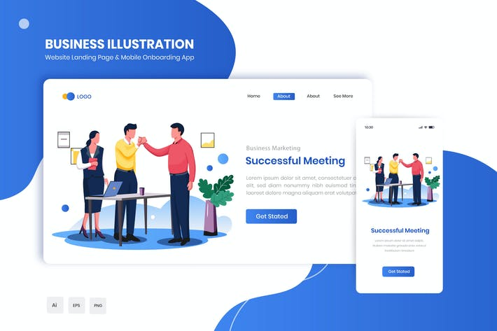 Thumbnail for Successful Meeting Flat Landing & Onboarding App